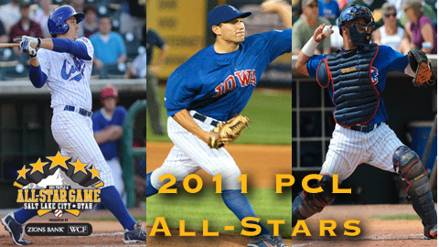 Bryan LaHair (left), John Gaub (center), and Welington Castillo are 2011 PCL All-Stars.