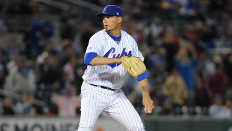 Scott Maine earned the save in the Cubs' 5-4 victory at Omaha on Tuesday.